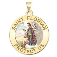 Saint Florian Religious Medal   Color EXCLUSIVE