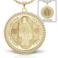 Saint Benedict Diamond Studded Round Religious Jubilee Medal    EXCLUSIVE