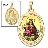 Scapular Religious Medal  OVAL  EXCLUSIVE Color