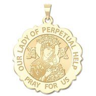Our Lady of Perpetual Help Scalloped Round Religious Medal  EXCLUSIVE