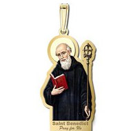 Saint Benedict Outlined Religious Medal  Color EXCLUSIVE