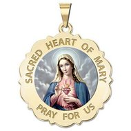 Sacred Heart Or Immaculate Heart of Mary Scalloped Religious Medal