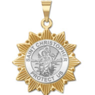 Saint Christopher Two Tone Sun Border Religious Medals  EXCLUSIVE