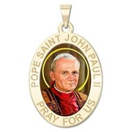 Pope Saint John Paul II Oval Religious Color Medal  EXCLUSIVE