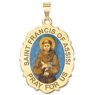 Saint Francis of Assisi Scalloped Religious Medal   EXCLUSIVE