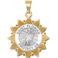 Saint Florian Two Tone Sun Border Religious Medal  EXCLUSIVE