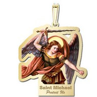 Saint Michael Outlined Religious Medal   Color EXCLUSIVE