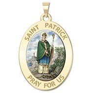 Saint Patrick Religious Medal  OVAL  Color EXCLUSIVE
