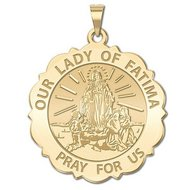 Our Lady of Fatima Scalloped Round Religious Medal   EXCLUSIVE