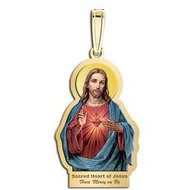 Sacred Heart of Jesus Outlined Religious Medal  Color EXCLUSIVE