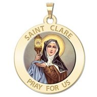 Saint Clare of Assisi Religious Medal    Color EXCLUSIVE