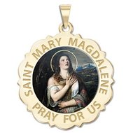 Saint Mary Magdalene Scalloped Religious Medal  Color EXCLUSIVE