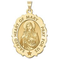 Sacred Heart Or Immaculate Heart of Mary Scalloped Religious Medal  EXCLUSIVE