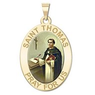 Saint Thomas Aquinas   Oval Religious Medal  EXCLUSIVE
