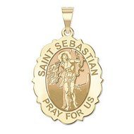 Saint Sebastian   Scalloped  Oval Religious Medal  EXCLUSIVE