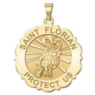 Saint Florian Scalloped Religious Medal   EXCLUSIVE