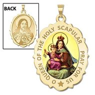 Scapular Religious Medal Scallopped OVAL  Color EXCLUSIVE