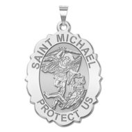 Saint Michael Scalloped OVAL Religious Medal   EXCLUSIVE