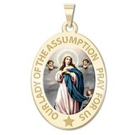 Our Lady of the Assumption Religious Medal  OVAL  Color EXCLUSIVE