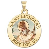 Saint Nicholas Religious Medal  Color EXCLUSIVE