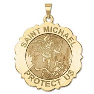 Saint Michael Scalloped Round Religious Medal   EXCLUSIVE