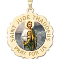 Saint Jude Scalloped Religious Medal   Color EXCLUSIVE