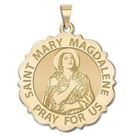 Saint Mary Magdalene Scalloped Religious Medal  EXCLUSIVE