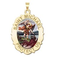 Saint Michael Scalloped OVAL Religious Medal   Color EXCLUSIVE