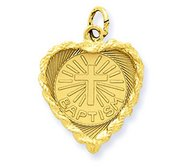 Baptism Heart  with Rope Frame Charm