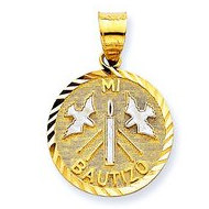 14K Yellow Gold   Rhodium Mi Bautizo Pendant