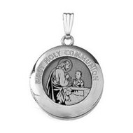 14k White Gold Round  First Holy Communion  Boy Locket