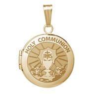 14k Yellow Gold Round  Holy Communion   Locket