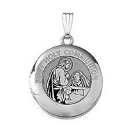 14k White Gold Round  First Holy Communion  Girl Locket