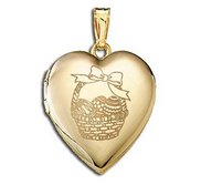 14K Yellow Gold Children s  Easter Basket  Heart Locket