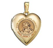 14K Yellow Gold Children s  Our Lord Jesus  Heart Locket