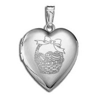 14K White Gold Children s  Easter Basket  Heart Locket