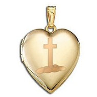 14K Yellow Gold Children s  Easter Eggs   Cross  Heart Locket