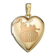 14K Yellow Gold Children s  Easter Bunny  Heart Locket