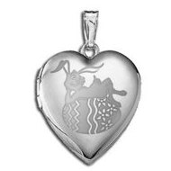 Sterling Silver Children s  Easter Bunny  Heart Locket