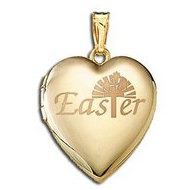 "14K Yellow Gold Children's ""Easter"" Heart Locket"