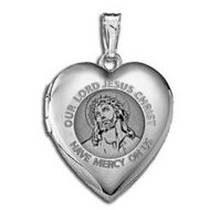 "14K White Gold Children's ""Our Lord Jesus"" Heart Locket"