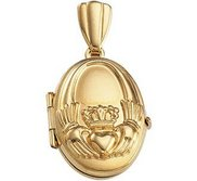 Solid 14K Yellow Gold Small Oval Claddagh Locket