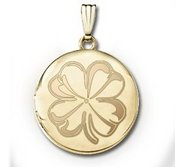 14k Yellow Gold Round Yellow  4 Leaf Clover   Picture Locket