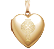 14K Yellow Gold  Sweetheart  Celtic Cross Locket