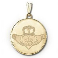 14k Yellow Gold Round Celtic  Claddagh   Clover   Picture Locket