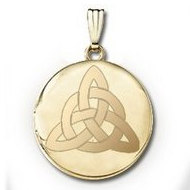 "14k Yellow Gold Round ""Celtic Trinity""  Picture Locket"