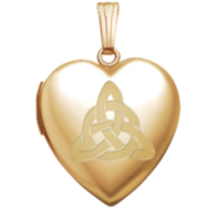 "14K Yellow Gold ""Sweetheart"" Celtic Trinity Locket"