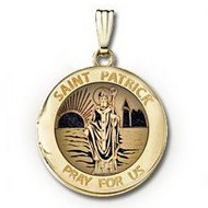 14k Yellow Gold Round Yellow  St  Patrick   Picture Locket