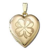 "14K Yellow Gold ""Sweetheart"" 4 Leaf Clover Locket"