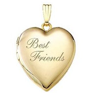 14K Yellow Gold  Best Friends  Heart Locket